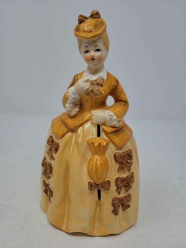 Vintage RARE Painted Planter Woman in Orange Dress/Parasol/Hat/Bows