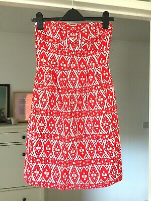 J Crew red and white strapless dress UK 8 (US 4) with pockets lined cotton
