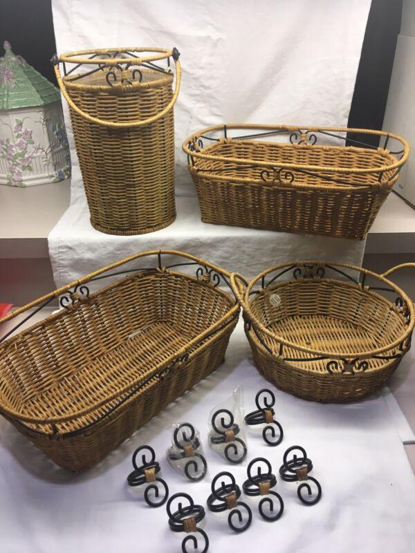 Princess House Casual Home Set Of 4 Baskets Plus 8 Napkin Rings