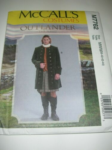 New McCalls #M7762 Outlander Mens Coat Costume Sz MWW 38-44 Sewing Pattern