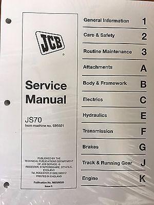 Jcb Js70 From Machine Serial Number 695501 Service Repair Shop Manual