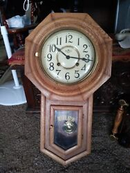 Vintage D & A Regulator Chiming 31 Day School House Wooden Wall Clock W/ Key