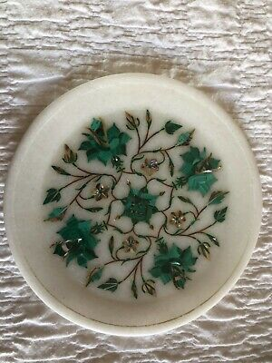 Marble plate pietra dura with malachite and mother of pearl inlay
