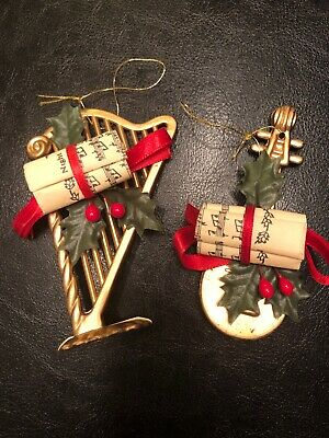 Christmas Tree Ornaments Music Instruments Harp Ukulele Gold ()