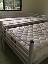White Metal Single bunk bed with 2 mattresses Wollongong Area Preview
