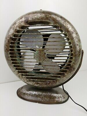"""Vintage 12"""" Round Metal Industrial Electric Fan 1 Speed Retro Clear Coated"""