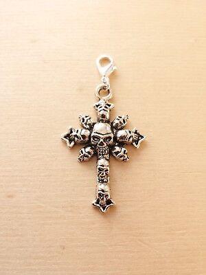 Totenkopf Kreuz Anhänger * Halloween Fantasy Gothic * Schmuckzubehör Deko Silber