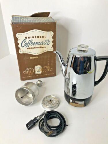 Vintage Mid Century Universal Coffeematic Percolator Chrome & Bakelite ~No. 4410