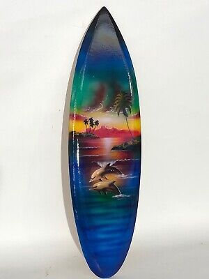 DOLPHIN  SURFBOARD AIR BRUSH DESIGN TROPICAL SIGN WALL HANGING ART HOME DECOR