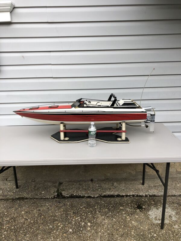 """Vintage RC 48"""" Dumas Wellcraft Scarab Cigarette Speed Boat Miami Vice With Stand"""