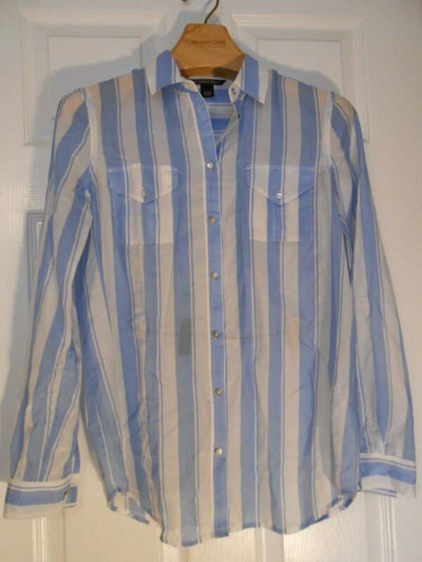 EUC Victoria's Secret blue and white stripe cotton/silk button up XS sheer sexy!