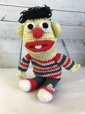 Vintage Sesame Street Crocheted Ernie Doll Toy Handmade Soft Stuffed Knit Plush