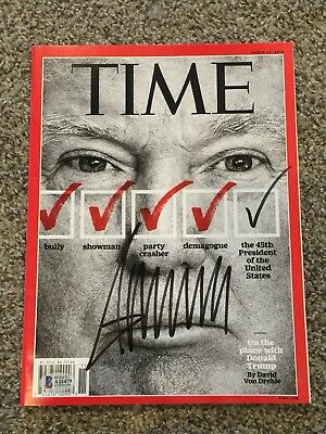 DONALD TRUMP SIGNED TIME MAGAZINE - Historic 2016 Campaign w/  BECKETT COA LOA!