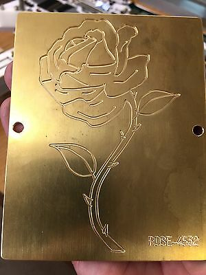 Single Long Stem Rose Brass Master Plate For New Hermes Engraver Font Tray