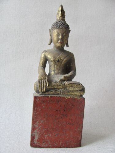 Antique Burmese / Southeast Asian Seated Wood Buddha Figure from Myanmar