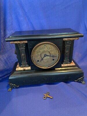Rare Antique 1880 Seth Thomas Clock Co. Adamantine Mantle Clock with Key