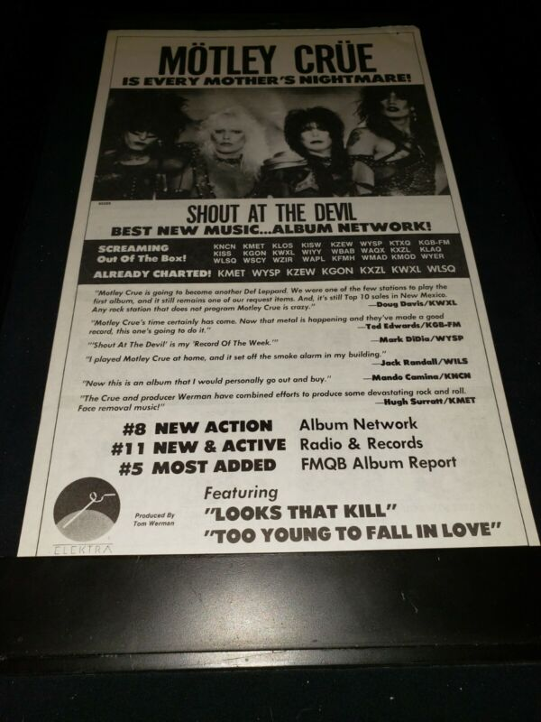 Motley Crue Shout At The Devil Rare Original Radio Promo Poster Ad Framed!