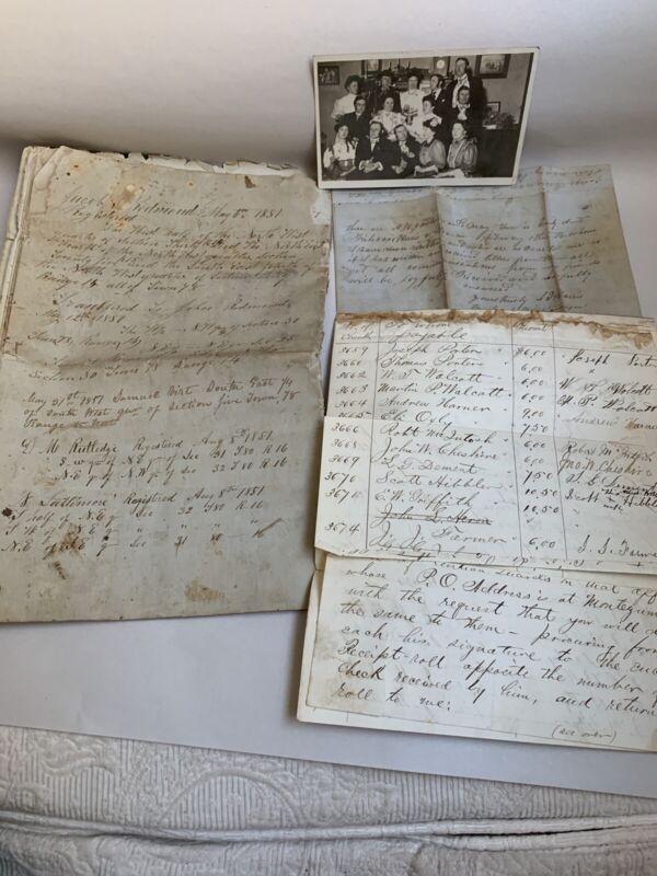 1851 Historical Document Poweshiek Protection Society Iowa +1866 Sugar Creek