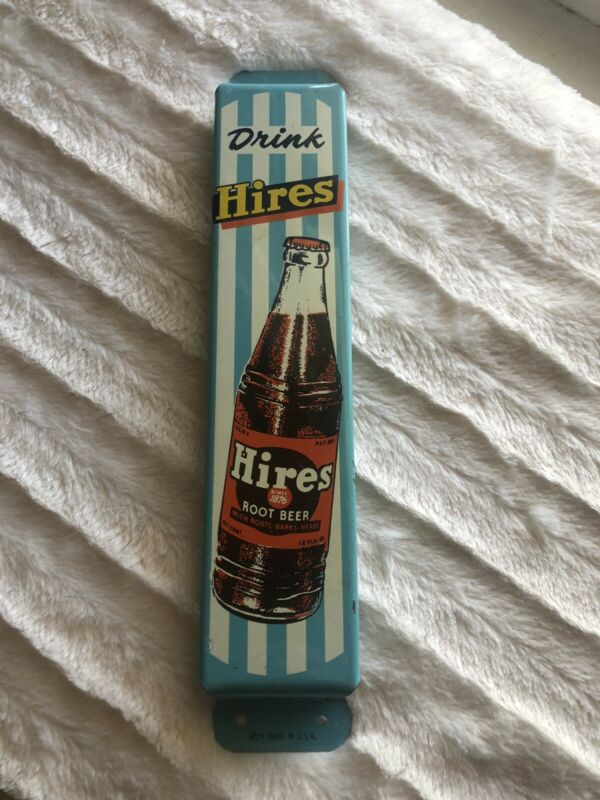 Hires Root Beer Vintage Soda Door Push Pull Handle Sign Amazing!!! New Old Stock