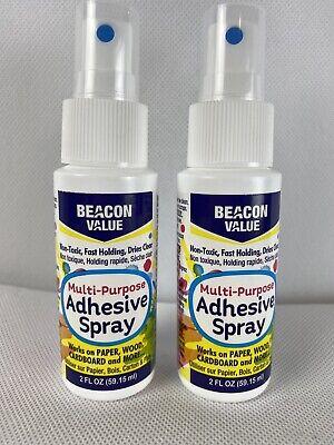 Lot Of 2 5 Oz Beacon Value Multi-purpose Adhesive Spray Non Toxic Dries Clear