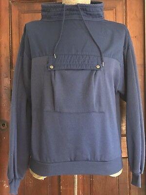 Vintage 80s Sweatshirt Kangaroo Pocket Unisex Medium Drawstring Blue - Flashdance Sweatshirt