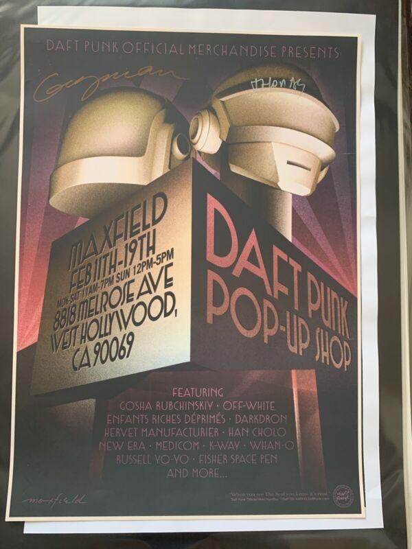 Daft Punk Pop Up Shop Poster / Maxfields / Rare / Autographed
