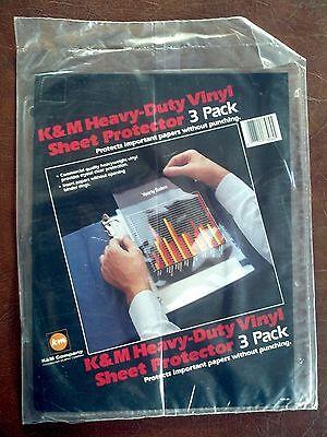 K M Heavy-duty Vinyl Sheet Protector 3 Pack New