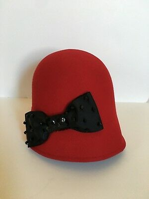 Ladies Red Cloche Hat Wool Black Bow Sparkle Elements Holiday Christmas Winter - Element Wool Hat