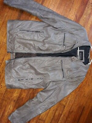 Guess Womens Grey Faux Leather Jacket Large
