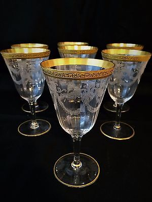 RARE Fostoria Gold Encrusted Garland Etch 766 Optic Glass Water Goblet Victory