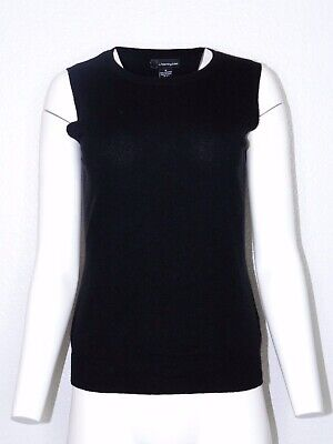 C by Bloomingdales Cashmere Medium Black Pull Over Short Sleeve Tank
