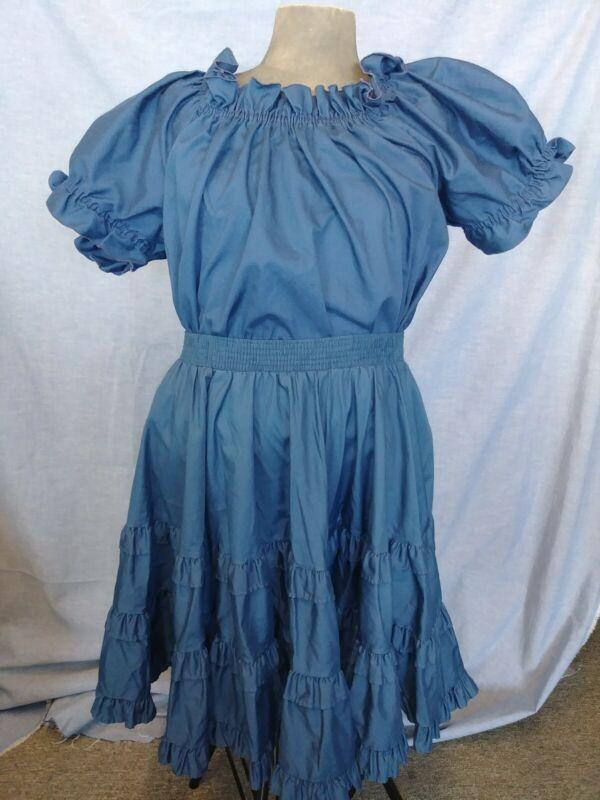 Malco Modes Navy Blue Square Dance Costume Pheasant Shirt Ruffle Skirt Med Set