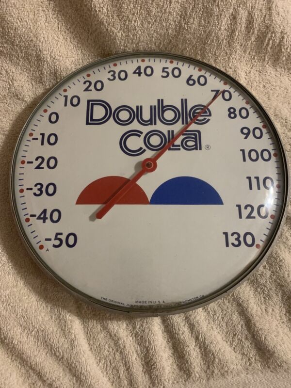 "12"" Glass Double Cola Advertising Thermometer Sign"