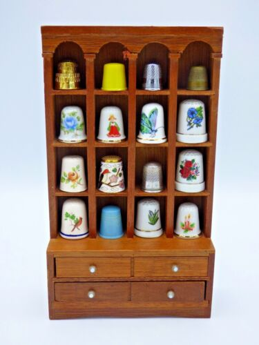 Thimble Hutch Display with 16 Thimbles includes Sterling Silver & Cloisonné