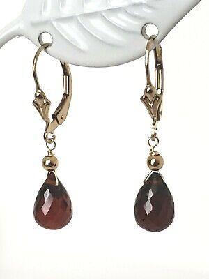 14k Yellow Gold Filled Garnet Briolette Drop Dangle Earrings