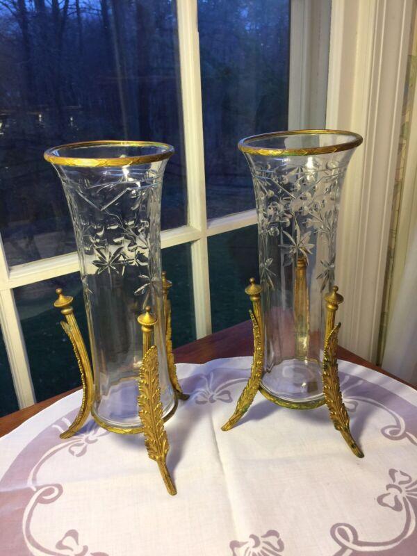 Pair French Antique Art Nouveau Cut Glass Ormolu Bronze Mounted Vases
