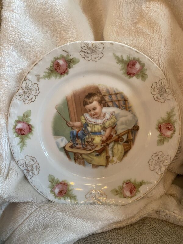 Rare Antique Lithograph Baby Plate Dish Victorian Donkey Pull Toy & Jester Doll