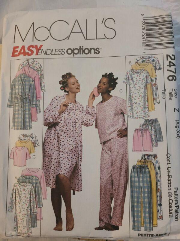 Vintage Sewing Pattern ROBE Pajamas Nightgown McCalls #2476 Sizes XL - XXL UNCUT