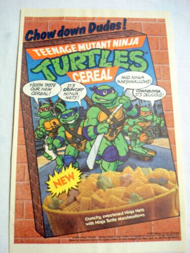 1989 Color Ad New Teenage Mutant Ninja Cereal Chow Down Dudes! TMNT