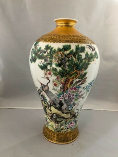 "Chinese High End Fine Painting Porcelain Vase ""14"" (H) By famous artist 朱武MD043"