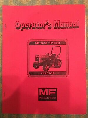 Massey Ferguson 1010 Hydrostatic Tractor Operators Manual 56 Pages