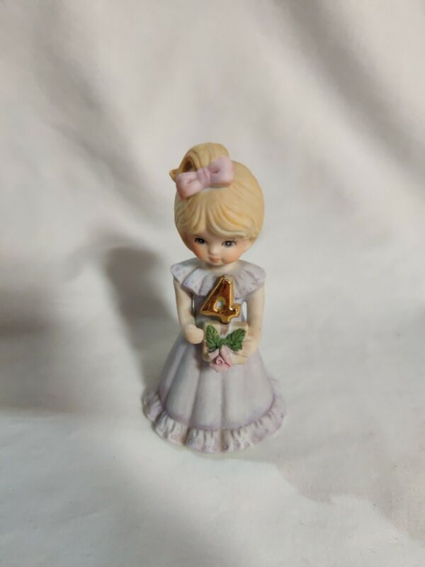 Enesco Birthday Growing Up Girls 4 Year Old Blonde Hair Doll Figurine 1981