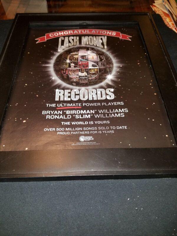 Cash Money Records Rare Original Promo Poster Ad Framed!