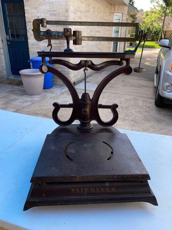 FAIRBANKS ANTIQUE CAST IRON PLATFORM BALANCE COUNTER TOP SCALE  WORKING