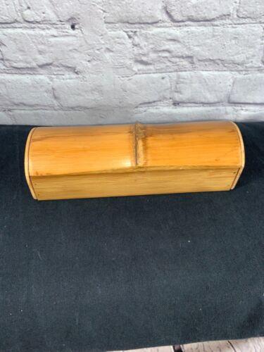 VINTAGE  Bamboo Trinket Box. Pivoting lid pencil box