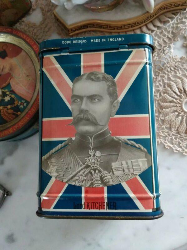 ANTIQUE CIRCA 1901 BOER WAR GENERALS LORD ROBERTS LORD KITCHENER TEA CADDY TIN