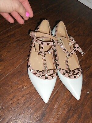 - KAITLYN PAN Studded Ballerina Leather T–Strap Cage Flats Blue Nude US 8.5