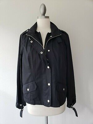 Chicos Size 1 Womens Sz 8 Black Cotton Nylon Zip Snap Jacket Coat Removable Vest