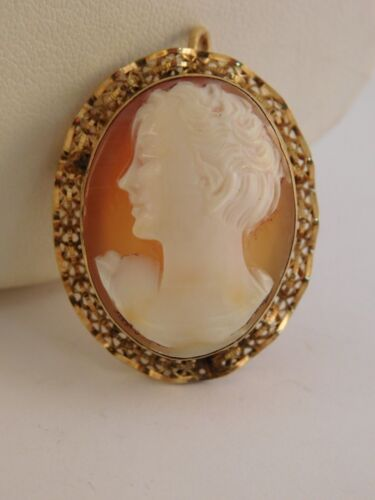 12K  GOLD FILLED CARVED SHELL CAMEO PIN BROOCH PENDANT SIGNED HG