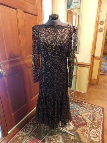 GORGEOUS VINTAGE BLACK & GOLD LACE FORMAL DRESS LONG SLEEVE CALF LENGTH SZ 11/12